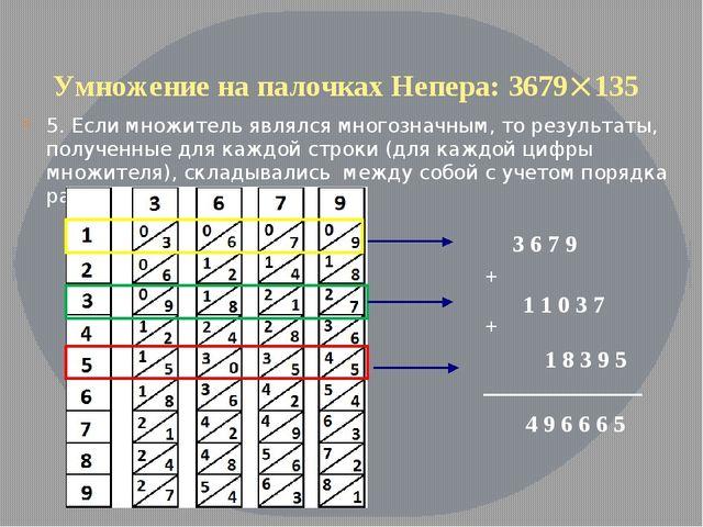 Умножение на палочках Непера: 3679135 5. Если множитель являлся многозначным...