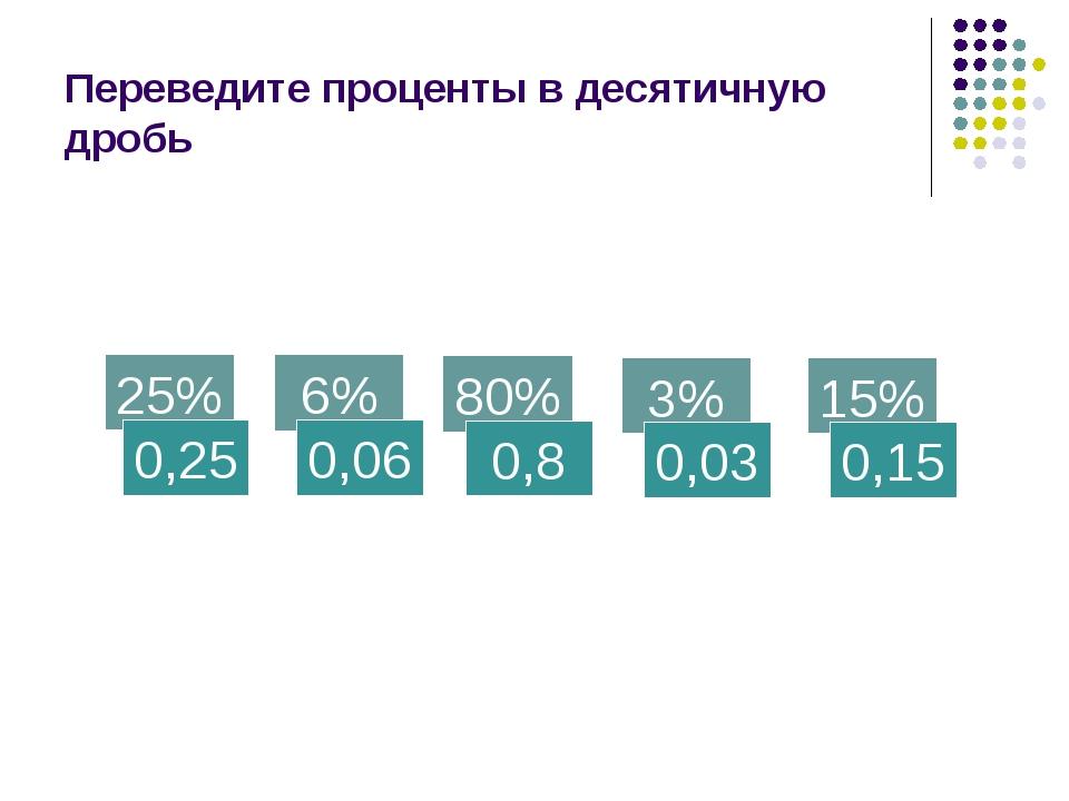Переведите проценты в десятичную дробь 25% 0,25 6% 0,06 80% 0,8 3% 0,03 15% 0...