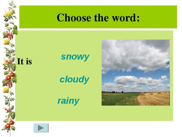 Choose the word: It is snowy rainy cloudy
