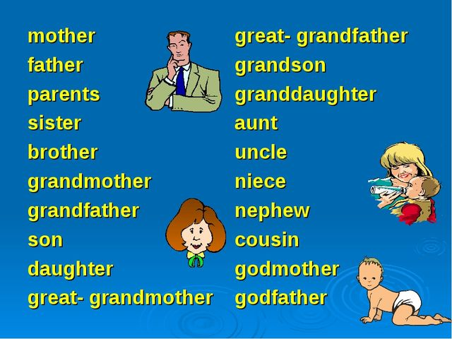 mother father parents sister brother grandmother grandfather son daughter gre...