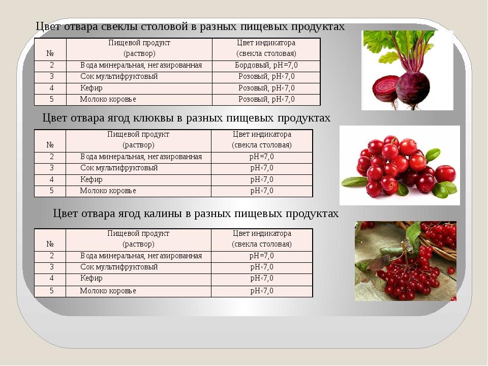 Цвет отвара свеклы столовой в разных пищевых продуктах Цвет отвара ягод клюкв...