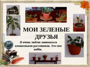 МОИ ЗЕЛЕНЫЕ ДРУЗЬЯ Я очень люблю заниматься комнатными растениями. Это мое хо