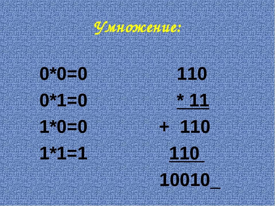 Умножение: 0*0=0110 0*1=0* 11 1*0=0 + 110 1*1=1 110  10010