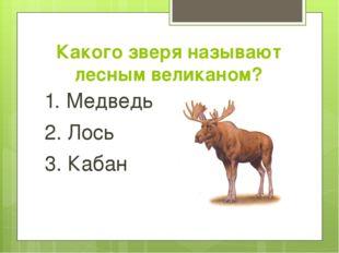 Какого зверя называют лесным великаном? 1. Медведь 2. Лось 3. Кабан
