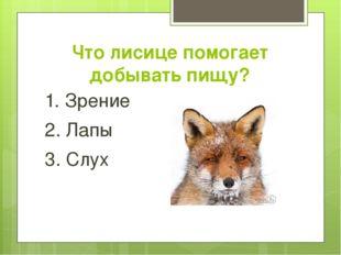 Что лисице помогает добывать пищу? 1. Зрение 2. Лапы 3. Слух