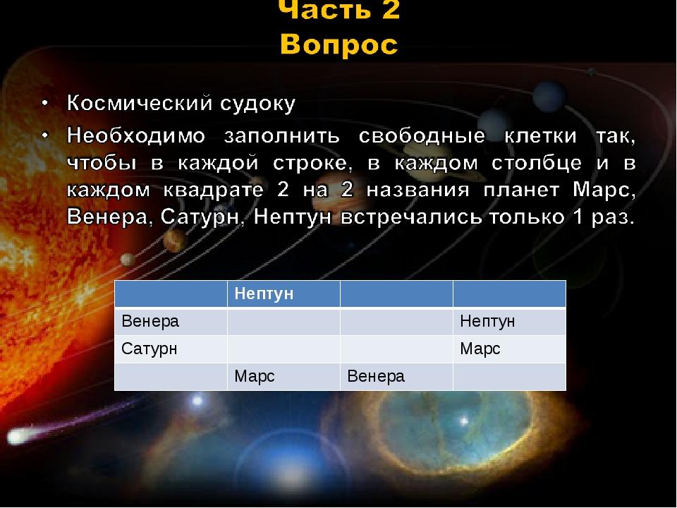 Нептун ВенераНептун СатурнМарс МарсВенера
