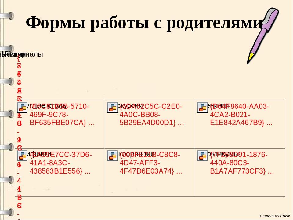 Формы работы с родителями Ekaterina050466