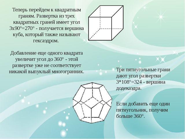 Для шестиугольников уже три грани дают угол развертки 3*120°=360°, поэтому пр...