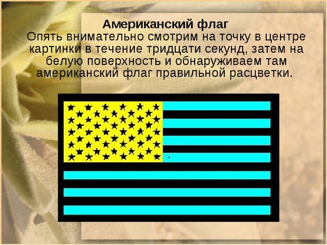 Американский флаг Опять внимательно смотрим на точку в центре картинки в теч...