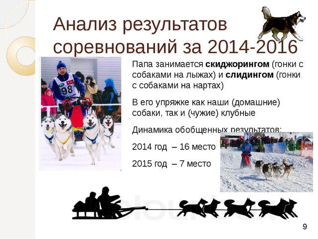 Анализ результатов соревнований за 2014-2016 г. Папа занимается скиджорингом...