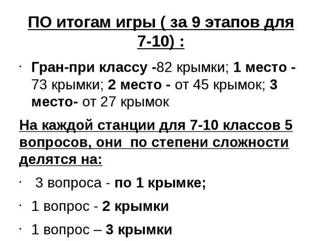 ПО итогам игры ( за 9 этапов для 7-10) : Гран-при классу -82 крымки; 1 место...