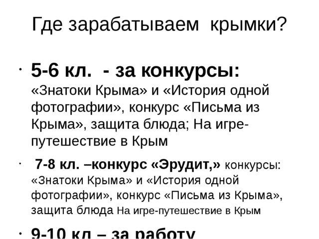 Где зарабатываем крымки? 5-6 кл. - за конкурсы: «Знатоки Крыма» и «История од...