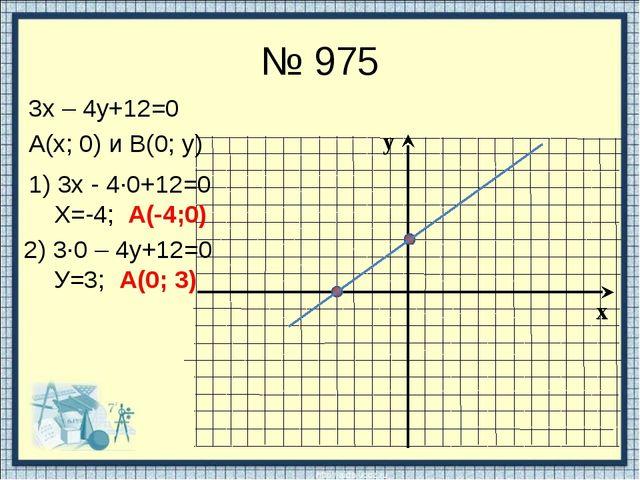 № 975 3х – 4у+12=0 А(х; 0) и В(0; у) 1) 3х - 4∙0+12=0 Х=-4; А(-4;0) 2) 3∙0 –...