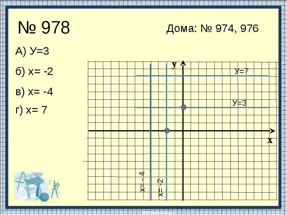№ 978 А) У=3 У=3 б) х= -2 х= -2 в) х= -4 г) х= 7 х= - 4 У=7 Дома: № 974, 976