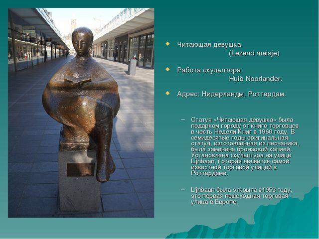 Читающая девушка (Lezend meisje) Работа скульптора Huib Noorlander. Адр...