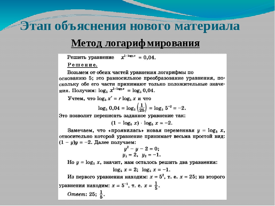 Этап объяснения нового материала Метод логарифмирования