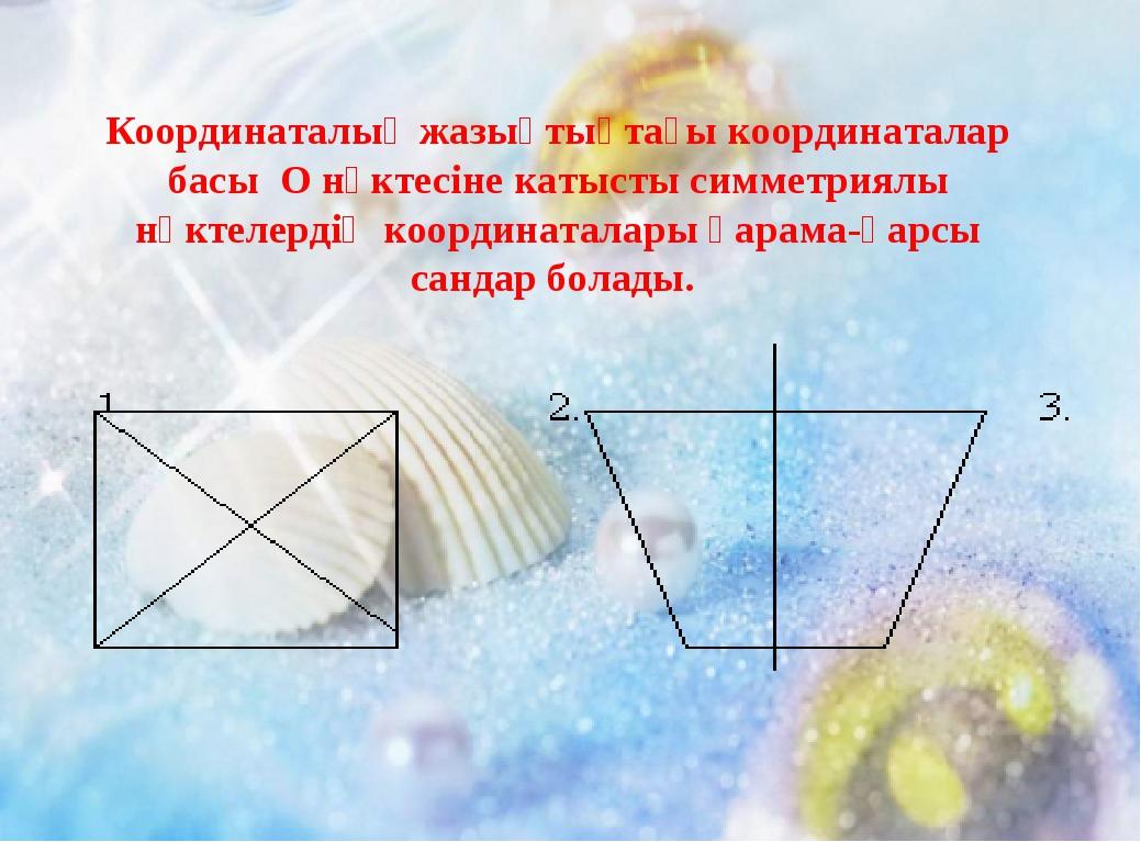 Координаталық жазықтықтағы координаталар басы О нүктесіне катысты симметриялы...