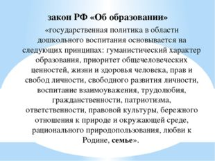закон РФ «Об образовании» «государственная политика в области дошкольного вос
