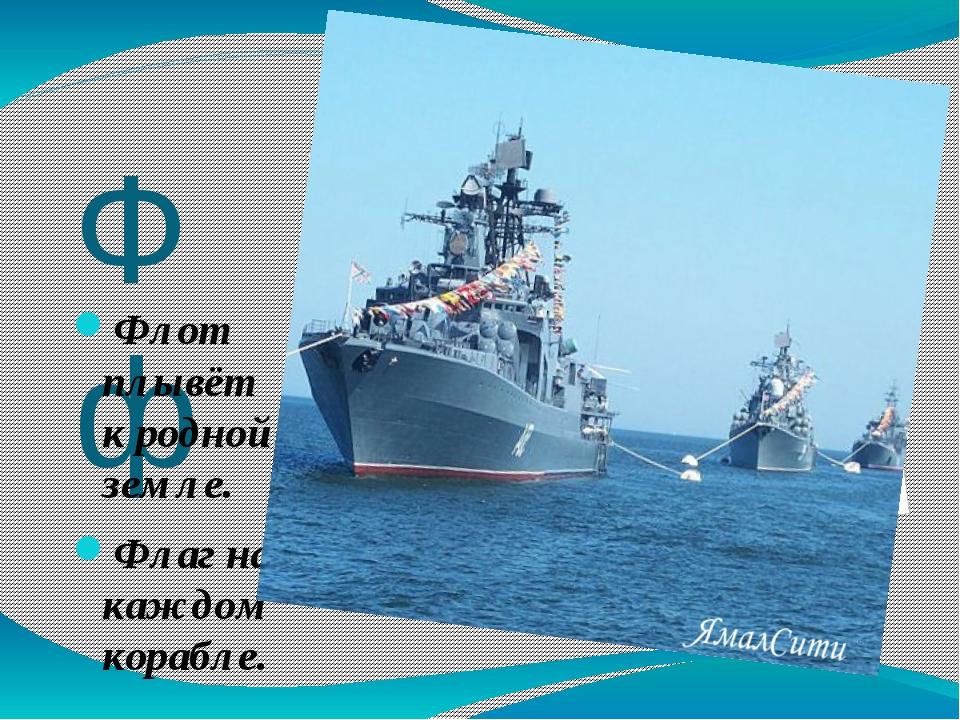Фф Флот плывёт к родной земле. Флаг на каждом корабле.