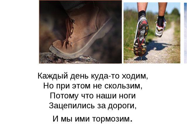 Каждый день куда-то ходим, Но при этом не скользим, Потому что наши ноги Заце...