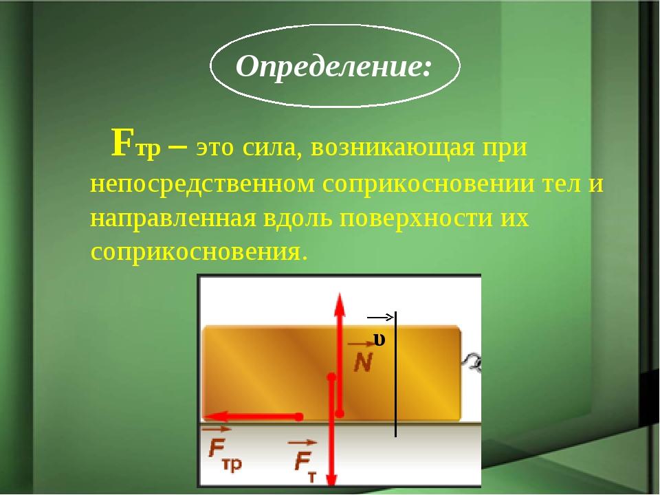 Fтр – это сила, возникающая при непосредственном соприкосновении тел и напра...