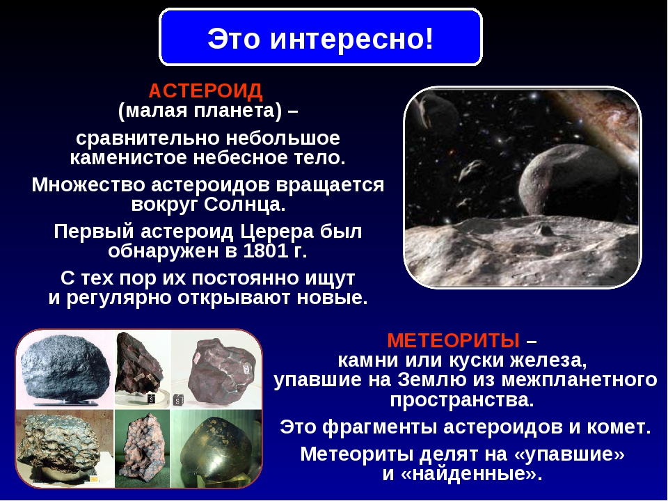 АСТЕРОИД (малая планета) – сравнительно небольшое каменистое небесное тело. М...