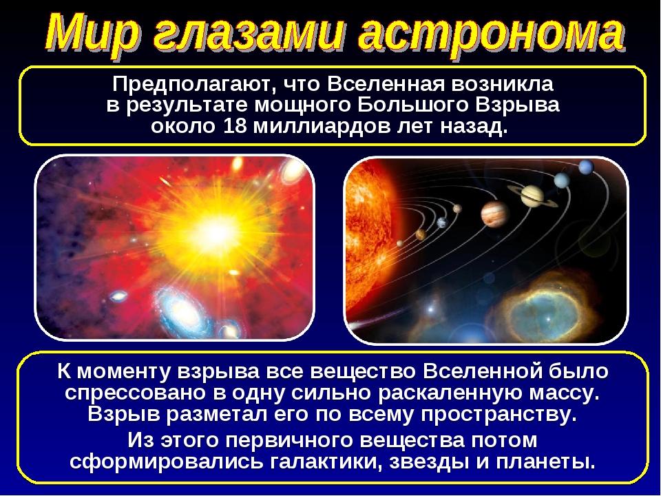 К моменту взрыва все вещество Вселенной было спрессовано в одну сильно раскал...