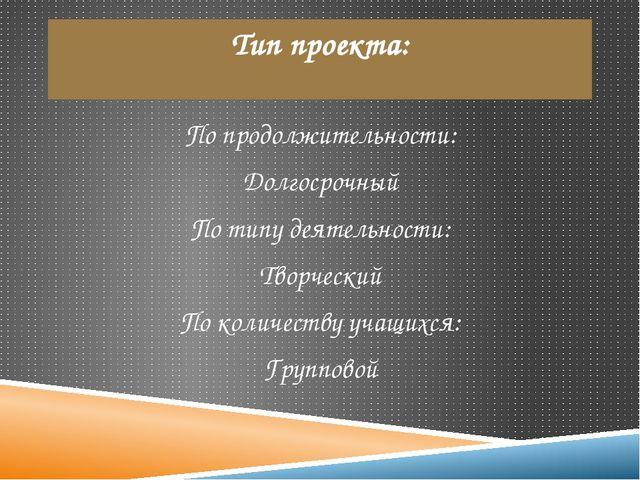 Тип проекта: По продолжительности: Долгосрочный По типу деятельности: Творчес...