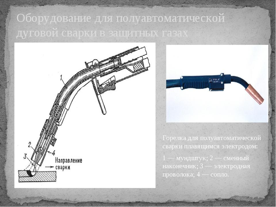 Оборудование для полуавтоматической дуговой сварки в защитных газах Горелка д...