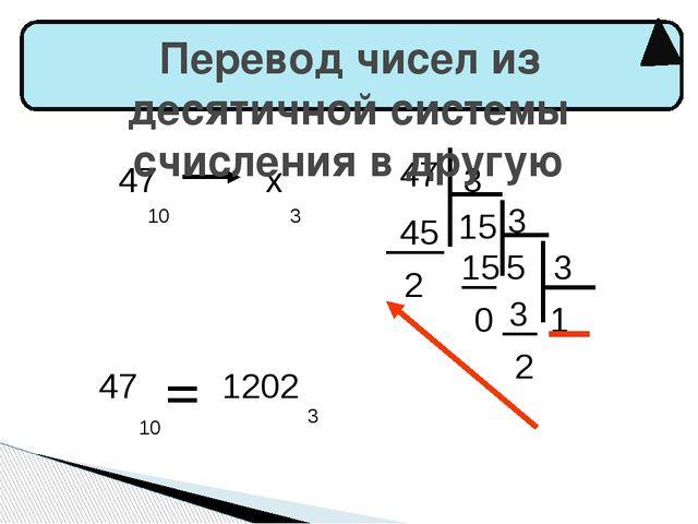 47 10 х 3 47 3 15 3 5 15 45 2 0 3 1 3 2 47 10 1202 3 Перевод чисел из десятич...
