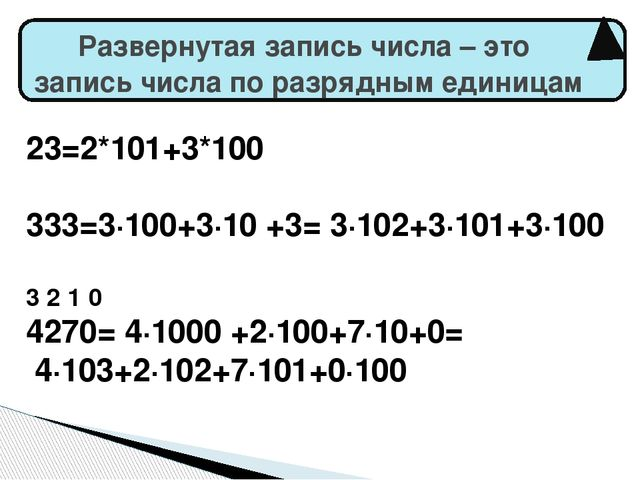 23=2*101+3*100 333=3·100+3·10 +3= 3·102+3·101+3·100 3 2 1 0 4270= 4·1000 +2·1...