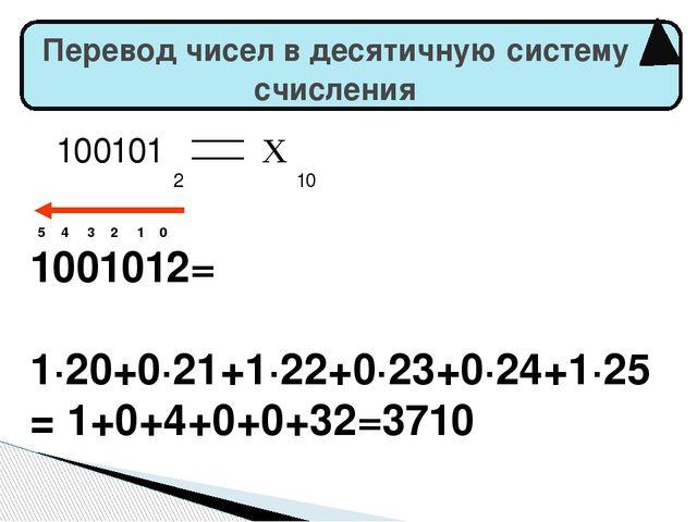 Перевод чисел в десятичную систему счисления 5 4 3 2 1 0 1001012= 1·20+0·21+...