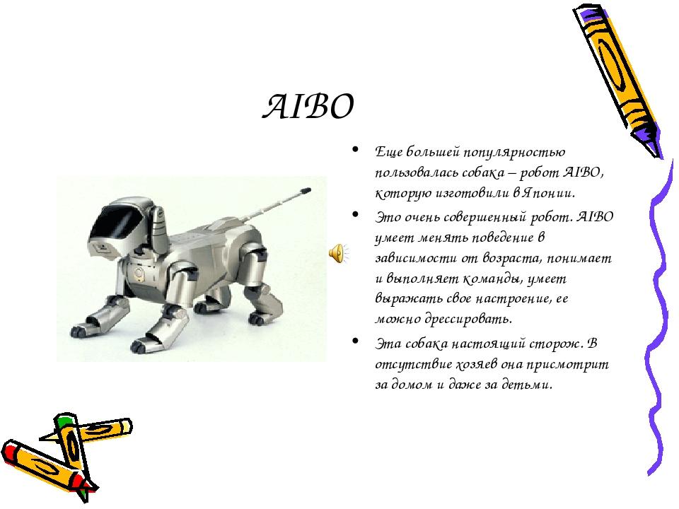 AIBO Еще большей популярностью пользовалась собака – робот AIBO, которую изго...