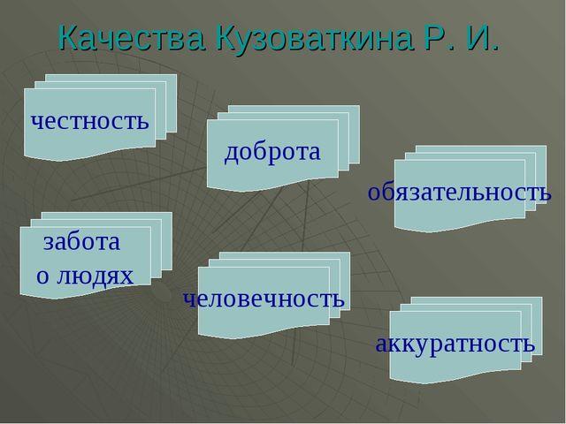 честность Качества Кузоваткина Р. И. доброта обязательность забота о людях че...