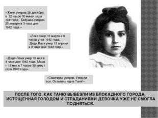 «Женя умерла 28 декабря в 12 часов 30 минут утра 1941года. Бабушка умерла