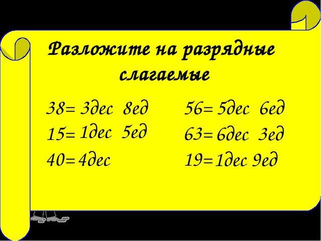 23= 2дес 3ед 72= 7дес 2ед 14= 1дес 4ед Разложите на разрядные слагаемые 38= 1...