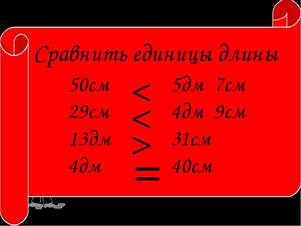 Сравнить единицы длины 50см 29см 13дм 4дм 5дм 7см 4дм 9см 31см 40см > < < =...
