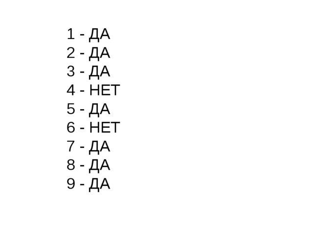 1 - ДА 2 - ДА 3 - ДА 4 - НЕТ 5 - ДА 6 - НЕТ 7 - ДА 8 - ДА 9 - ДА