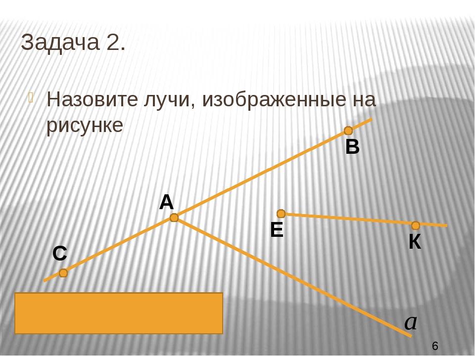 Задача 2. Назовите лучи, изображенные на рисунке К Е В А С АВ, АС, ЕК,А