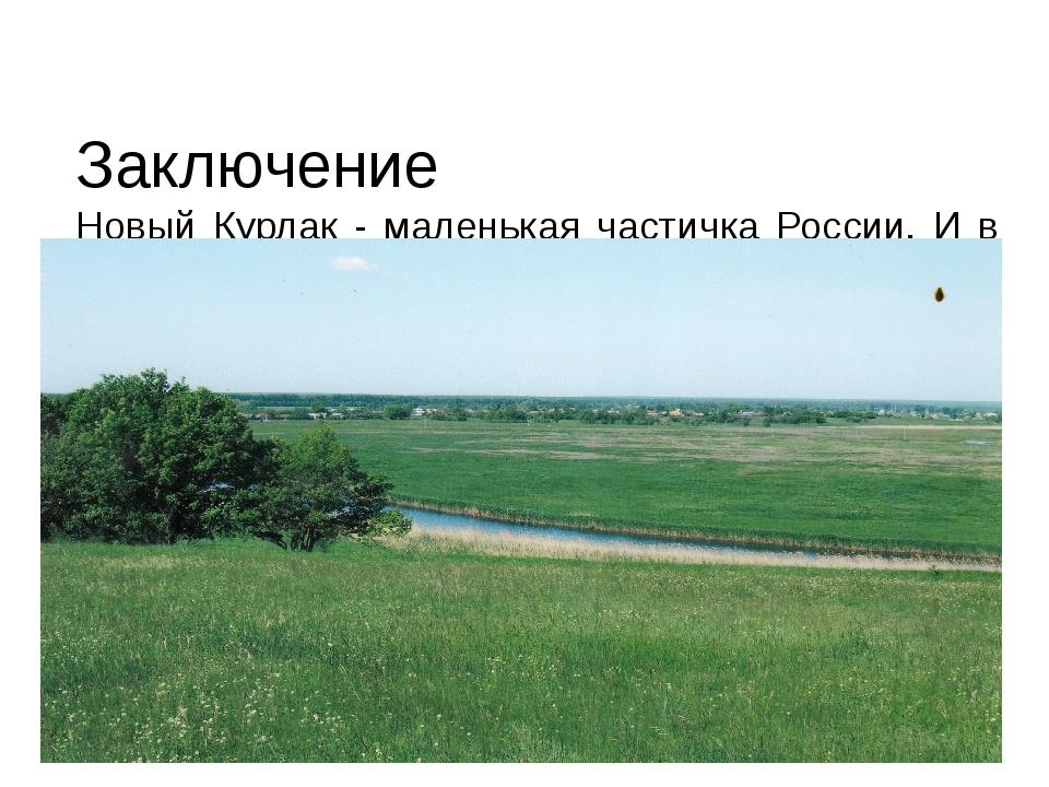 Заключение Новый Курлак - маленькая частичка России. И в его истории видна и...