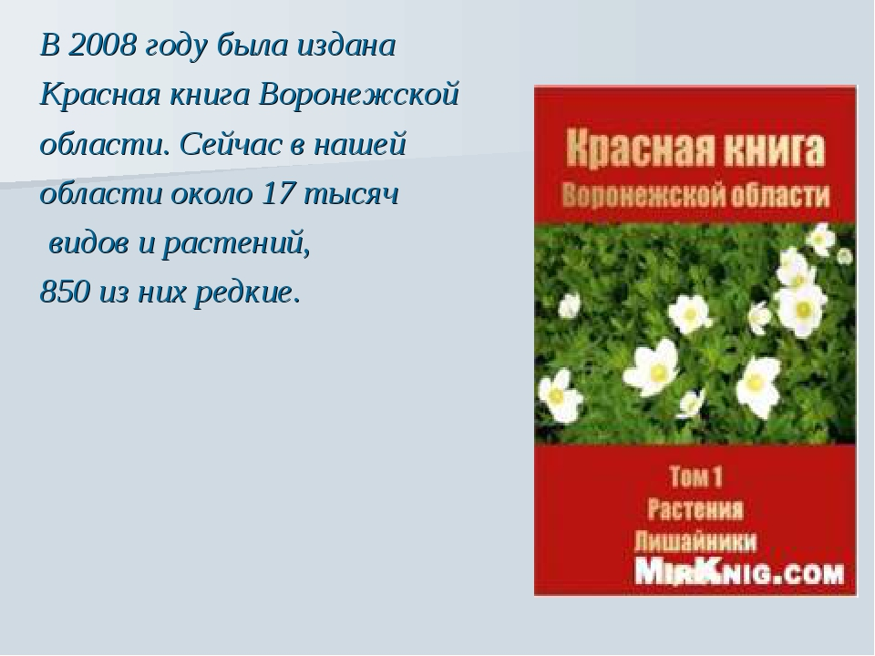 В 2008 году была издана Красная книга Воронежской области. Сейчас в нашей об...