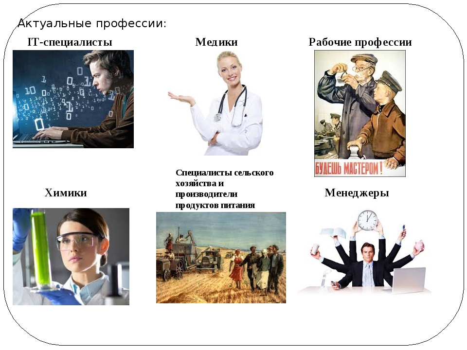 Актуальные профессии: IT-специалисты Медики Рабочие профессии Химики Специали...