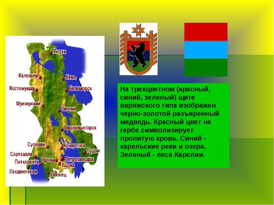 На трехцветном (красный, синий, зеленый) щите варяжского типа изображен черно...