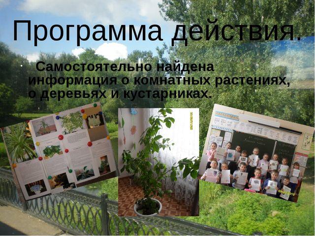 Самостоятельно найдена информация о комнатных растениях, о деревьях и кустар...