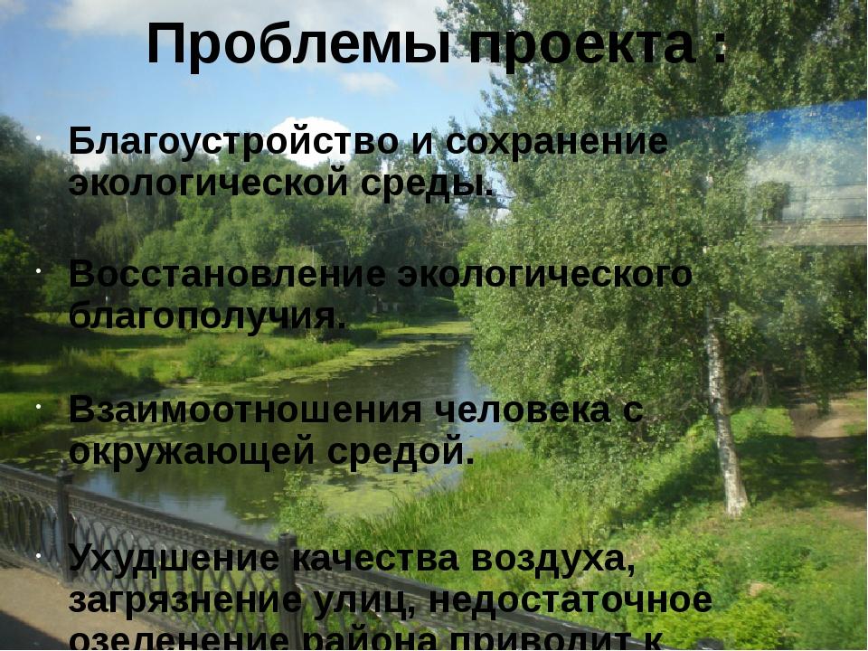 Проблемы проекта : Благоустройство и сохранение экологической среды. Восстано...