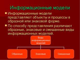 Информационные модели Информационные модели представляют объекты и процессы в