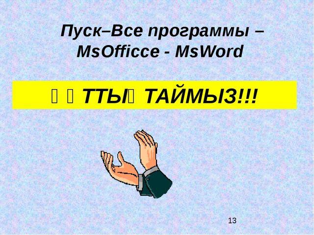 ҚҰТТЫҚТАЙМЫЗ!!! Пуск–Все программы – MsOfficce - MsWord