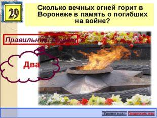 Сколько вечных огней горит в Воронеже в память о погибших на войне? Правильны
