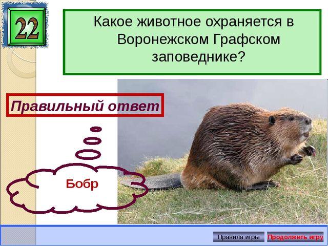 Какое животное охраняется в Воронежском Графском заповеднике? Правильный отве...
