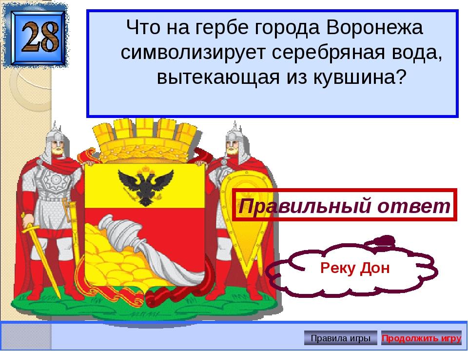 Что на гербе города Воронежа символизирует серебряная вода, вытекающая из кув...
